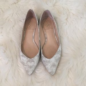 Vince Camuto- pointy white leather shoes